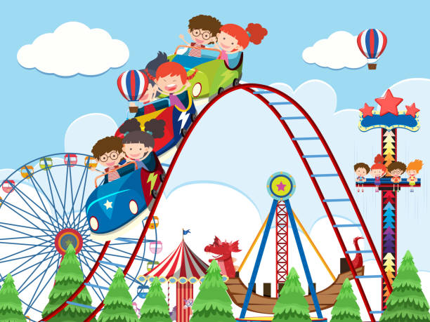 Children and rides at amusement park illustration
